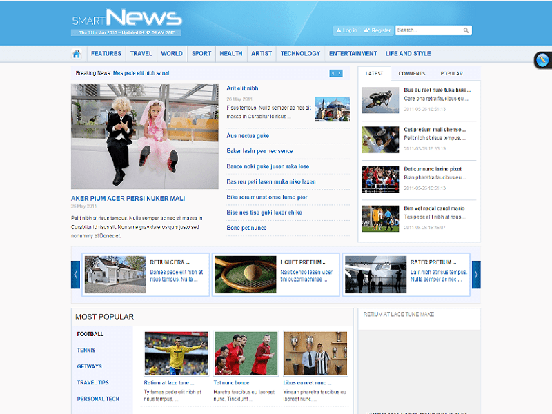 Smartnews joomla template smart news for Joomla empty template