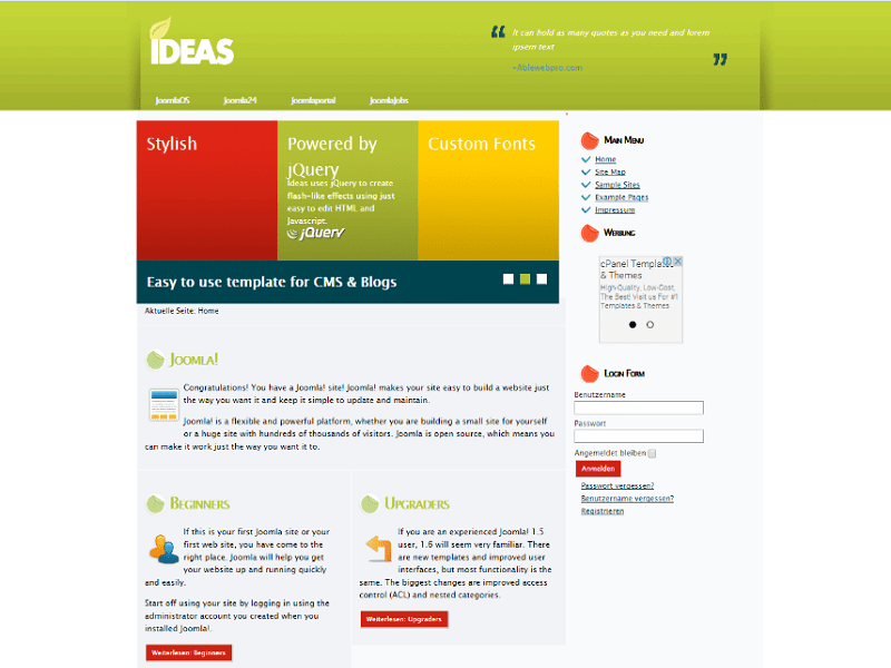 Ideas joomla 2 5 template clean for Joomla empty template