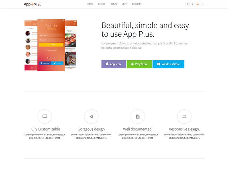 App Plus Bootstrap Landing Page Template Free - Bootstrap landing page template