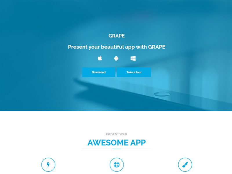 GRAPE Landing Page Bootstrap Free Template