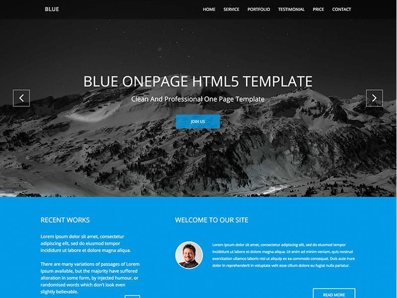 Blue onepage business bootstrap template friedricerecipe Images