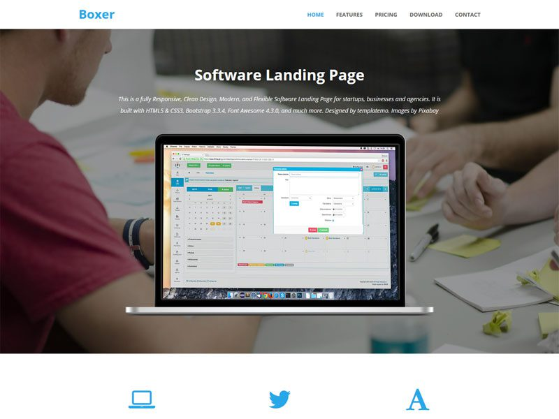 Boxer software landing page bootstrap template maxwellsz