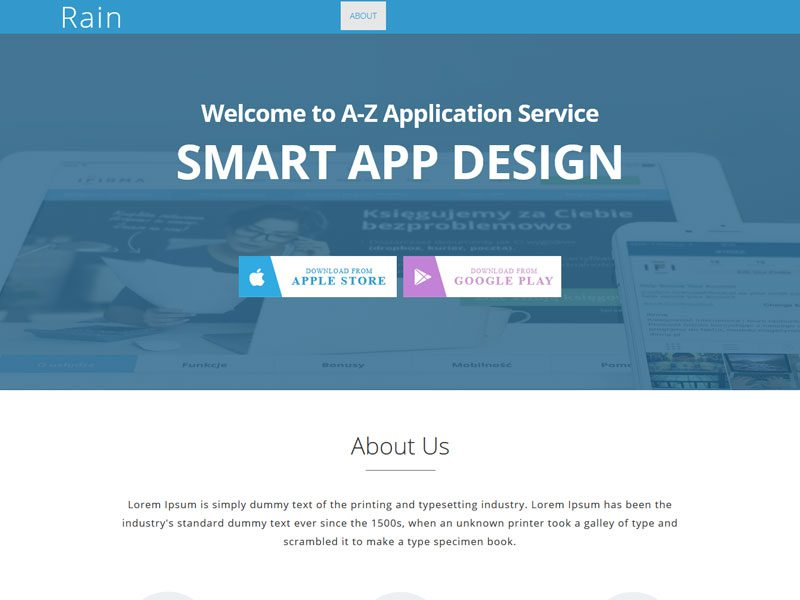 free landing page templates for wordpress - rain html5 app landing page bootstrap template