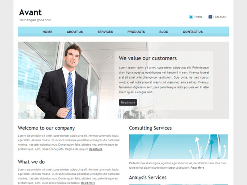 Avant free bootstrap corporate site template wajeb Gallery