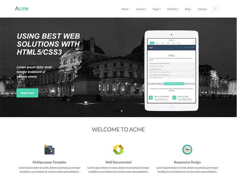 Acme – Free Responsive Corporate Bootstrap Template
