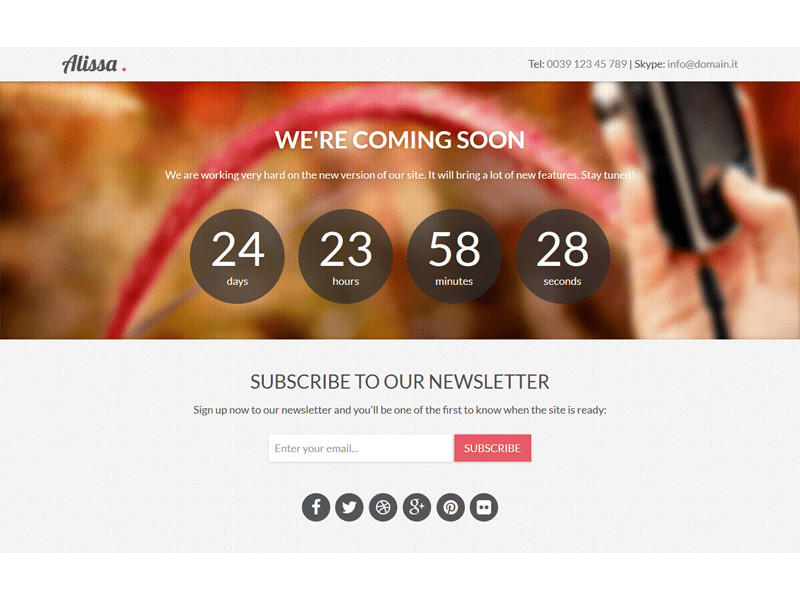 Alissa Responsive Bootstrap Coming Soon Template
