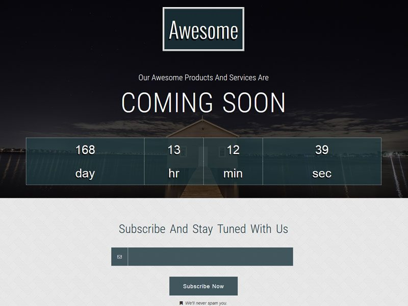 Awesome – Responsive Free Coming Soon Bootstrap Template