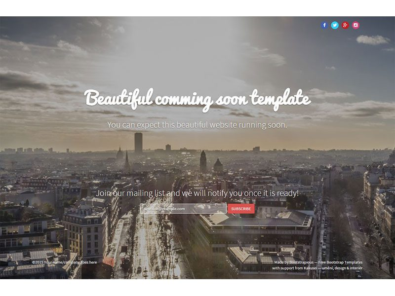 Coming Soon Bootstrap Free Template