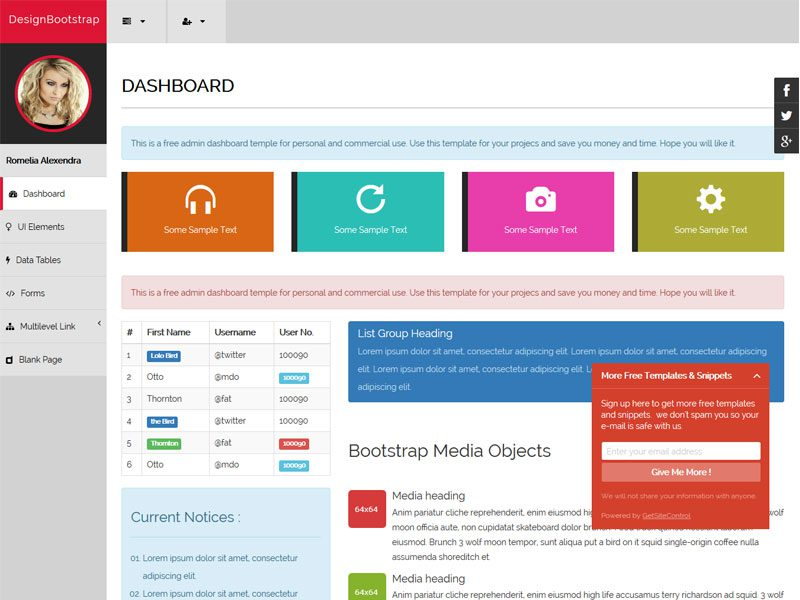 Dashboard FREE Bootstrap Template