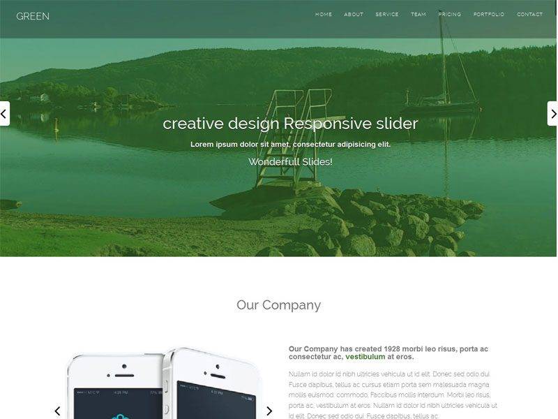 Green Free Bootstrap Business Template