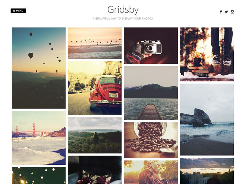 Gridsby – Template Free WordPress For Photographer
