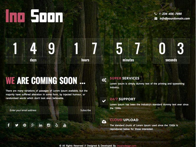 Ino Soon Responsive Bootstrap Coming Soon Template
