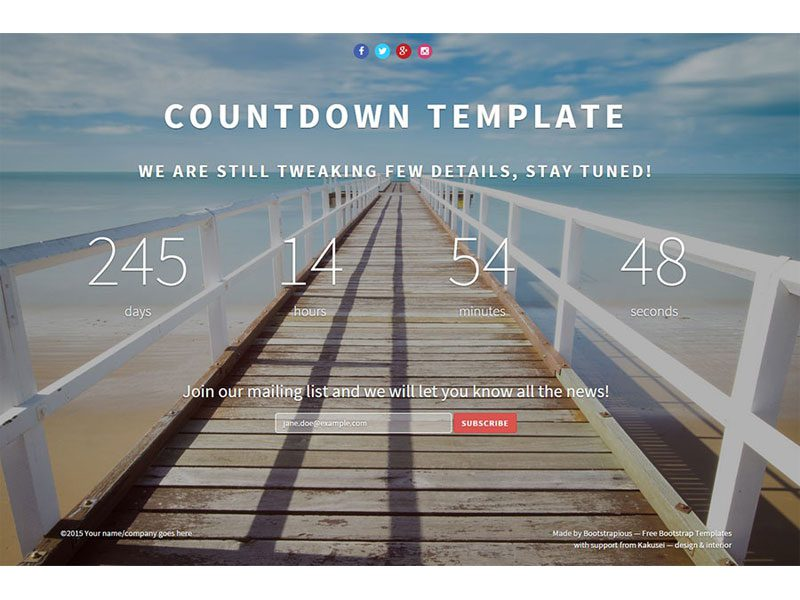 Landing Page Countdown Bootstrap Template