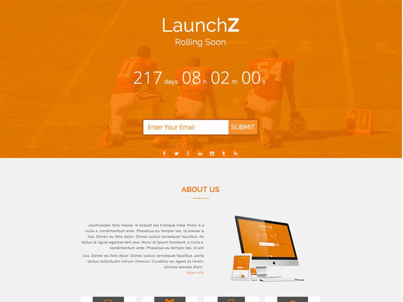 Launchz One Page Coming Soon Bootstrap Template