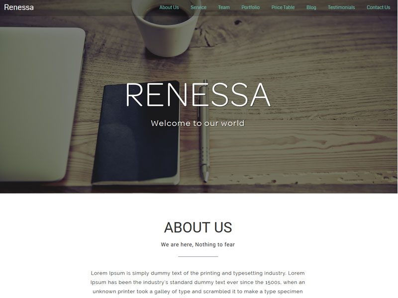 Renessa Bootstrap Template For Agency And Personal Website