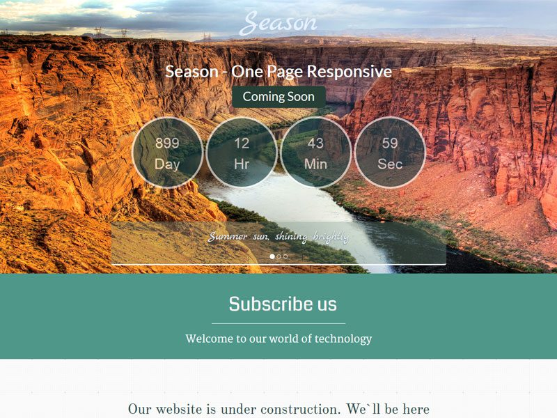 Season – One Page Bootstrap Coming Soon Template