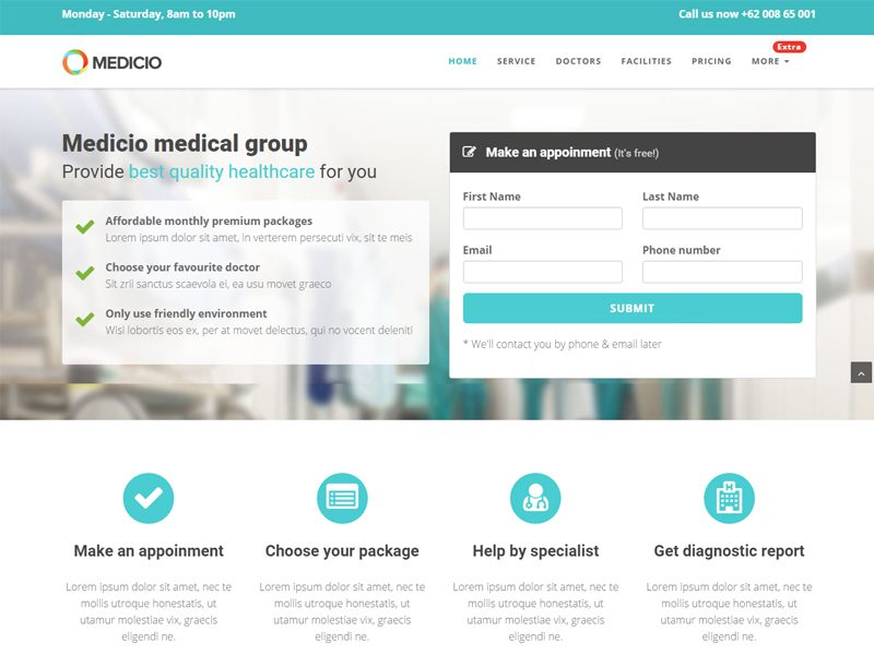 Medicio Landing Page Free HTML Template - Freemium Download