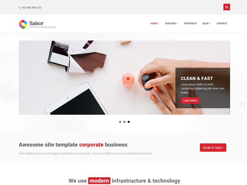 Sailor Free Bootstrap Template For Business - Freemium Download