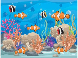 Coral Reef with Fish Free Vector