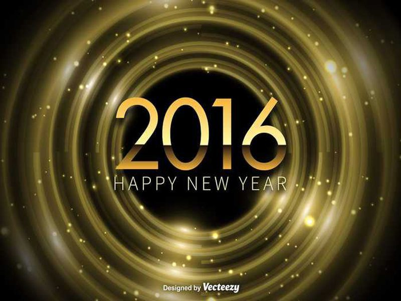 Happy New Year 2016 Free Vector