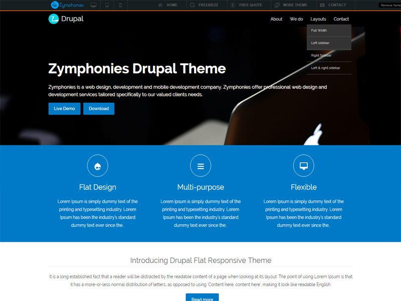 Flat Free Drupal Theme For Corporate