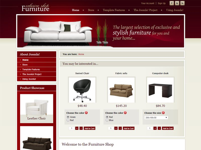 Dj furniture store free joomla template for furniture for Joomla empty template