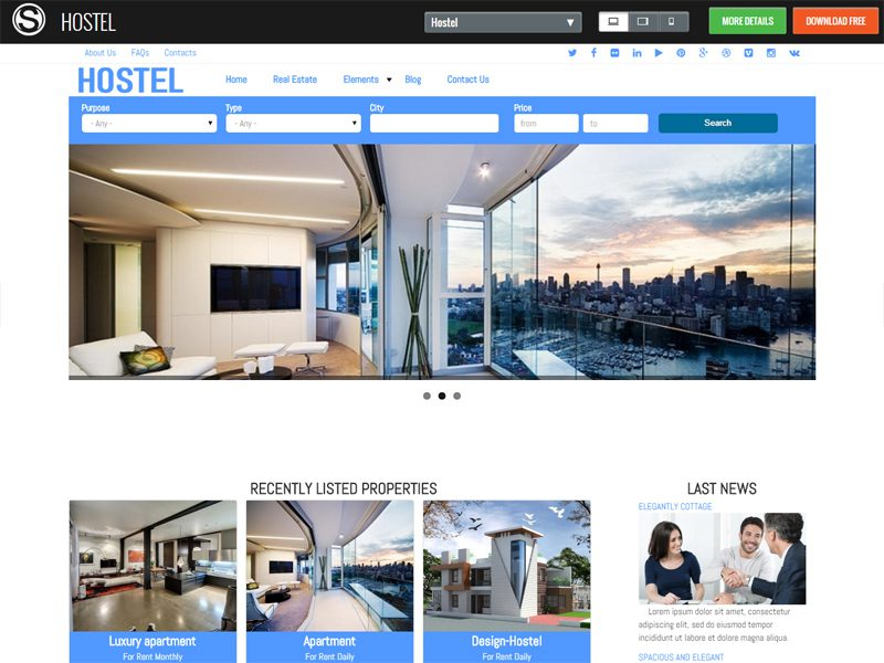 Hostel Free Drupal Theme For Real Estate