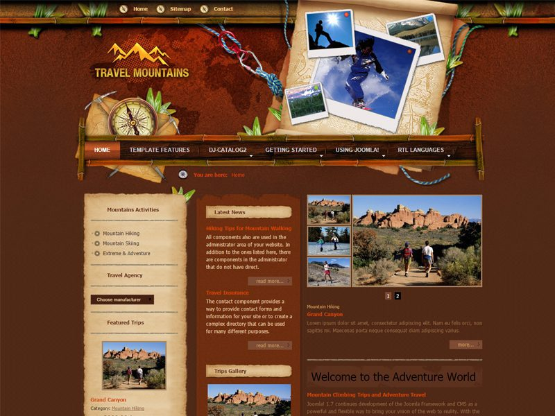 JM Mountains Free Joomla Travel Template - Freemium Download
