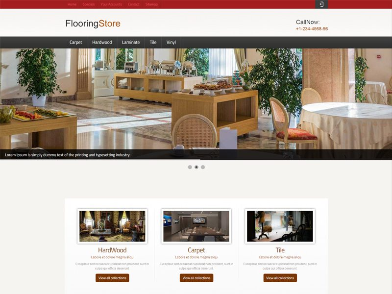 Commercial flooring responsive website template free download.