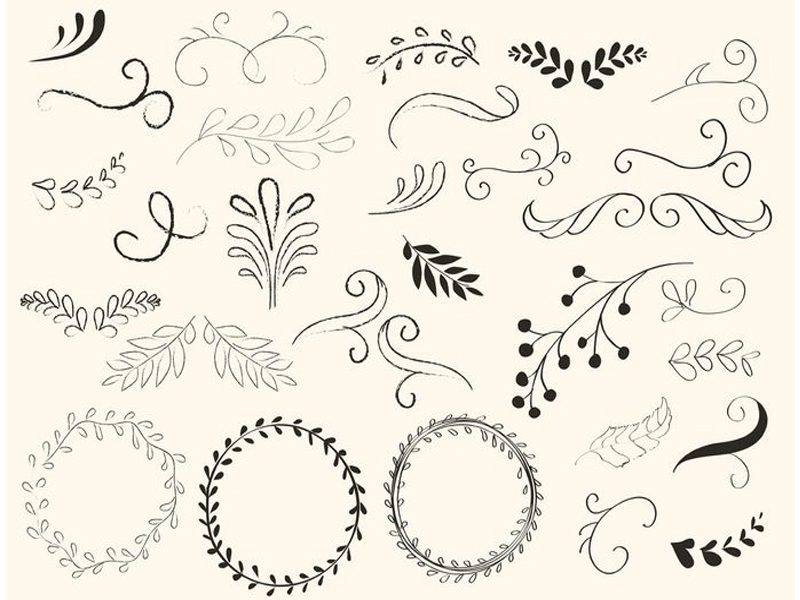 Hand Drawn Swirls and Wreath Free Vector