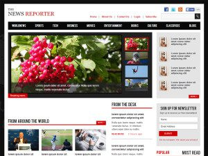 New Reporter Free Bootstrap Template For Entertainment Website