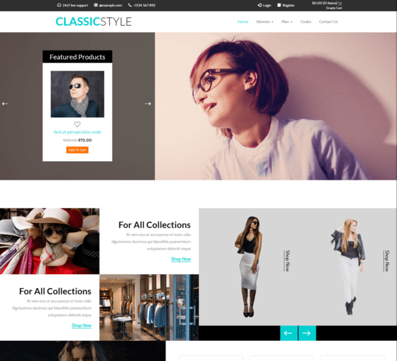 Classic Style Free Bootstrap Template For E-Commerce