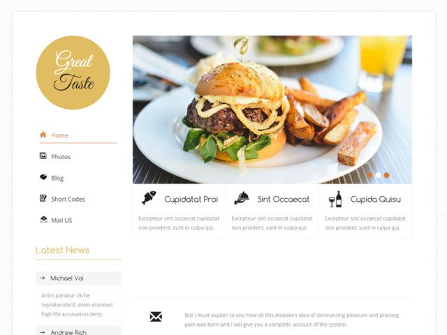 Great Taste Free Bootstrap Template For Food Corners