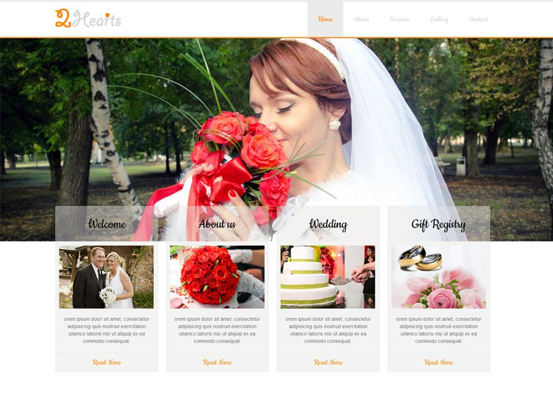 2Hearts Free Responsive Wedding Bootstrap Template