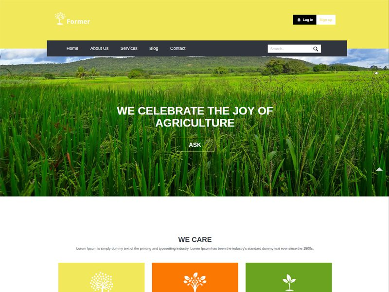 Former Free Responsive Bootstrap Agriculture Template