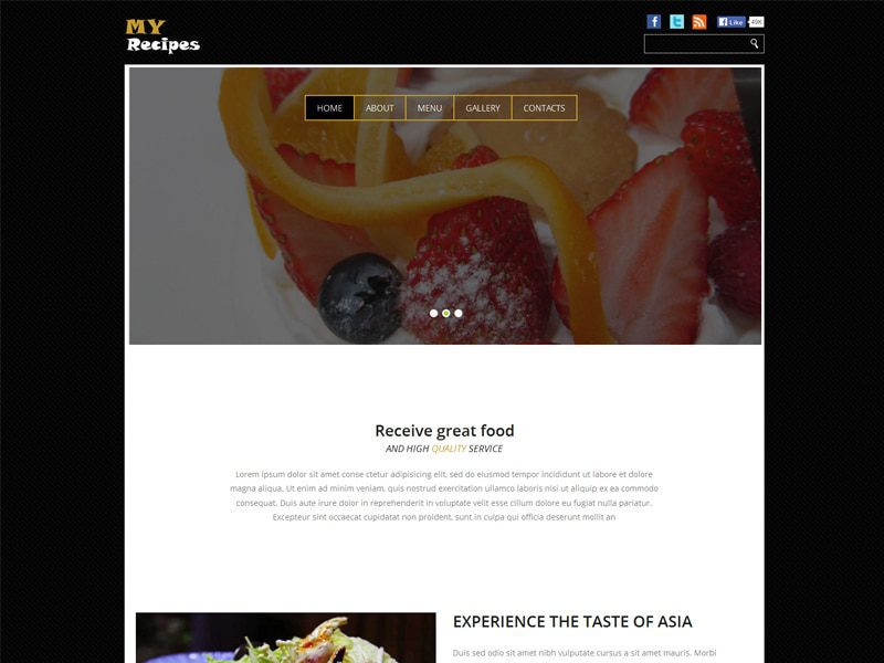My recipes free bootstrap template for food freemium download my recipes free bootstrap template for food forumfinder Choice Image