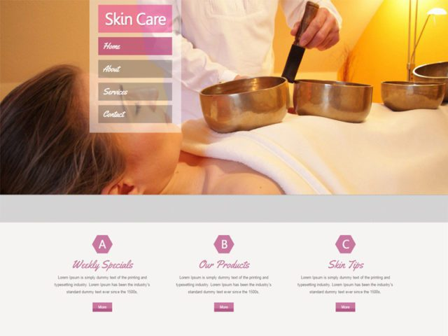 Skin Care Free Bootstrap Template For Beauty