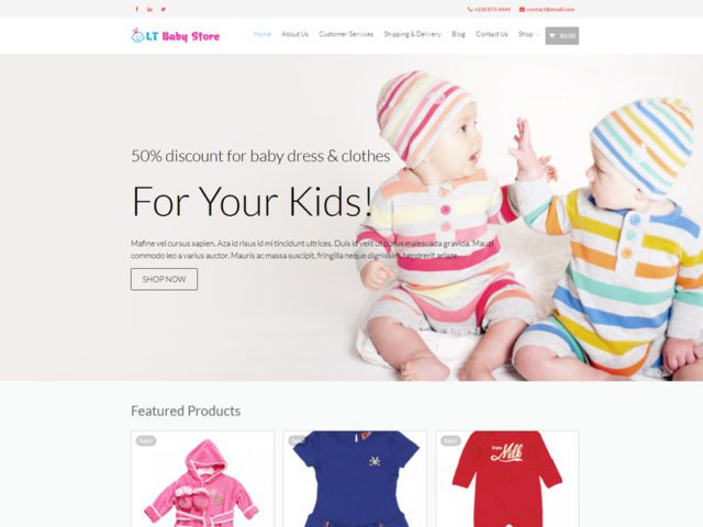 LT Baby Shop Free WordPress Theme For Baby Store
