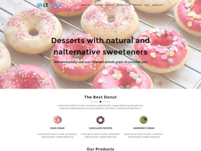 LT Donut Free Responsive WordPress Theme For Bread Store