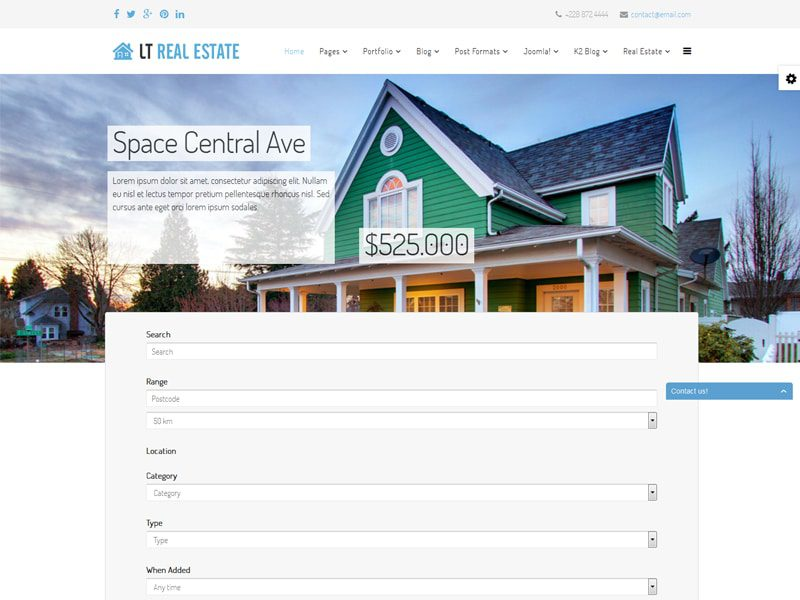 LT Real Estate Free Joomla Template For Interior