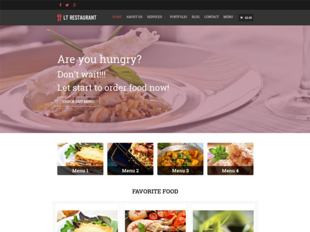 LT Restaurant Free Responsive Food Order WordPress Theme