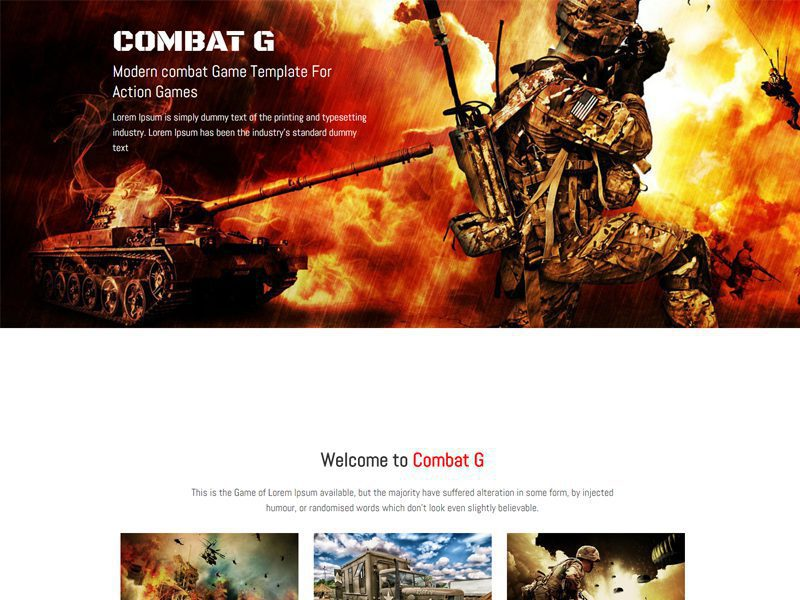Combat Game Free Responsive Bootstrap Game Template