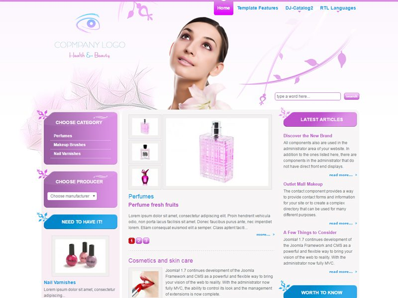 Jm cosmetics free responsive beauty joomla template for Cosmetology portfolio template