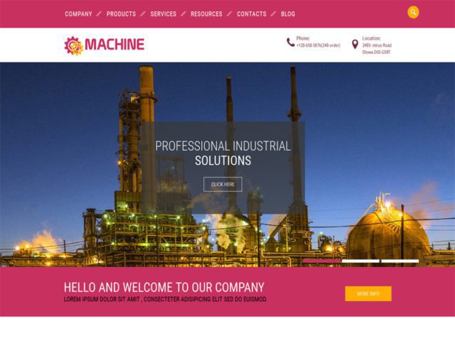 Machine Free Bootstrap Template For Industrial