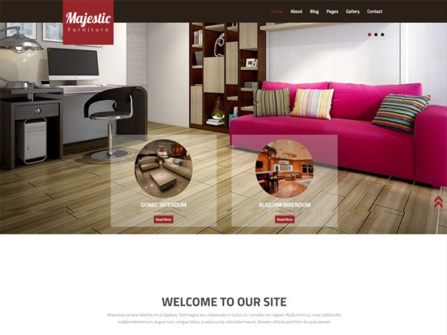 Majestic Free Bootstrap Template For Interior