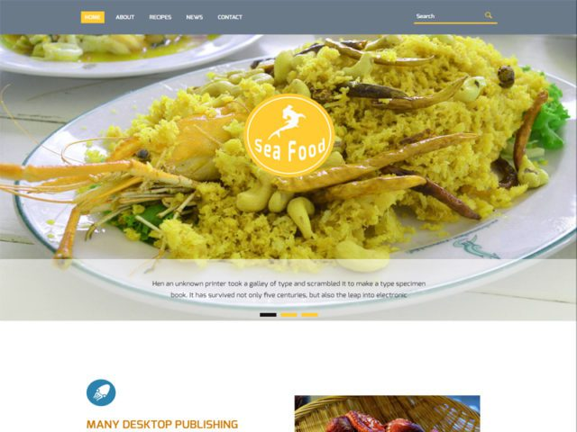 Sea Food Free Bootstrap Template For Food