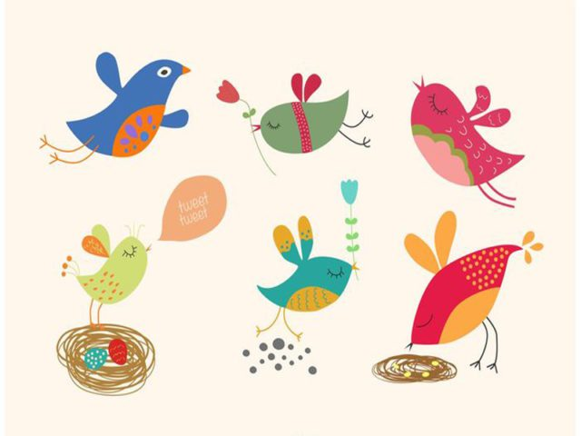 Spring Cartoon Bird Free Vector