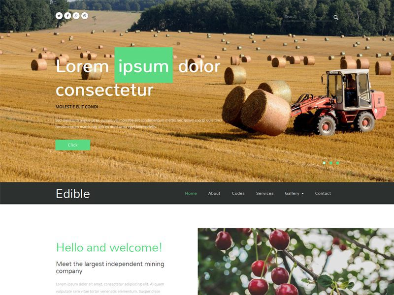 Edible Free Bootstrap Template For Agriculture Business