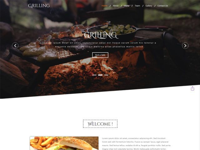 Grilling Free Responsive Restaurant Bootstrap Template