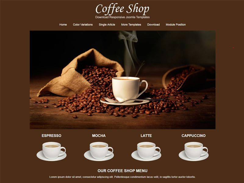 jsr coffee shop free responsive coffee shop joomla template freemium download. Black Bedroom Furniture Sets. Home Design Ideas